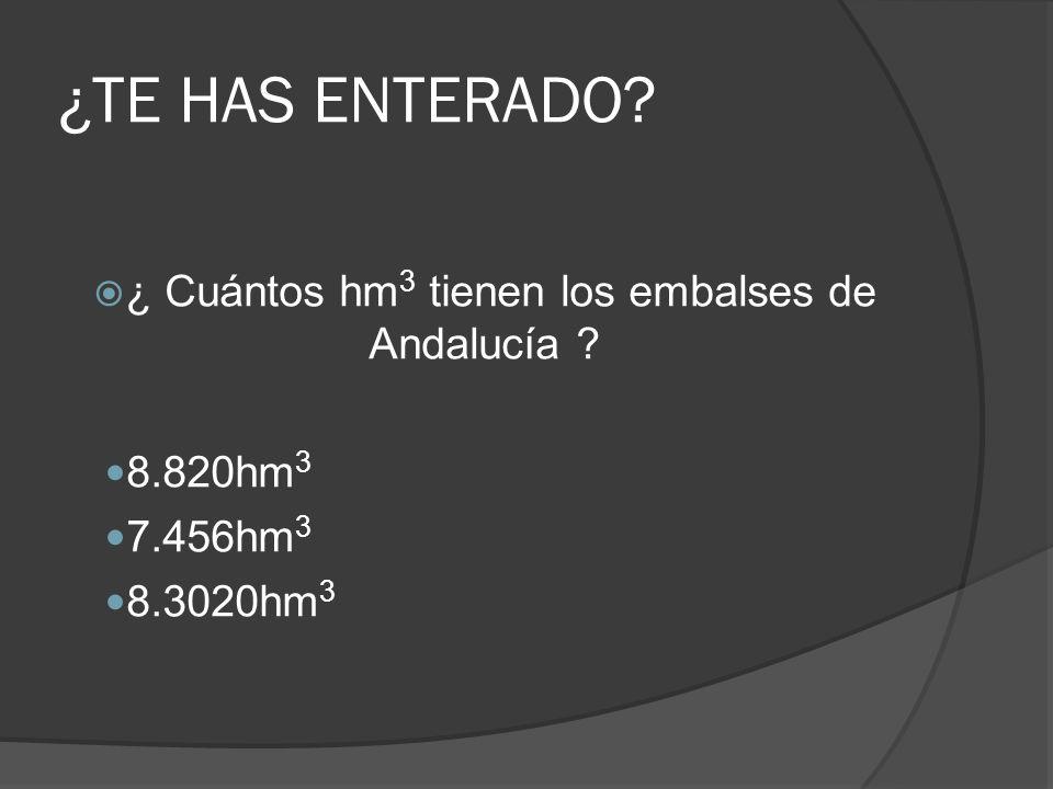 ¿ Cuántos hm3 tienen los embalses de Andalucía