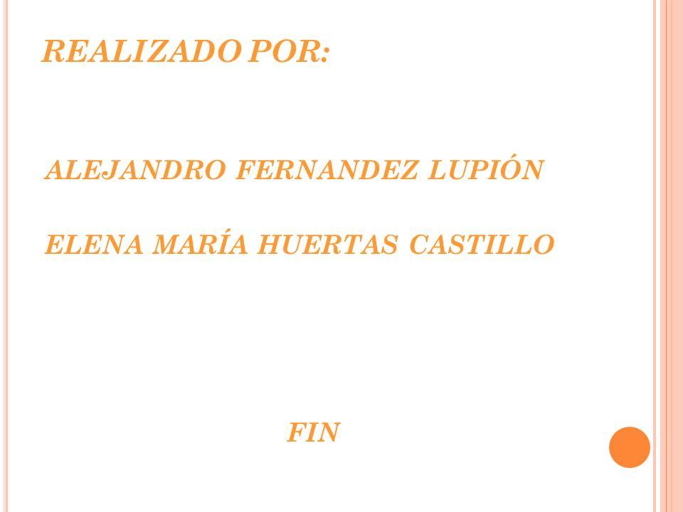 REALIZADO POR: ALEJANDRO FERNANDEZ LUPIÓN ELENA MARÍA HUERTAS CASTILLO FIN