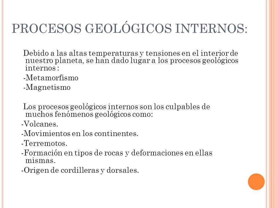 PROCESOS GEOLÓGICOS INTERNOS: