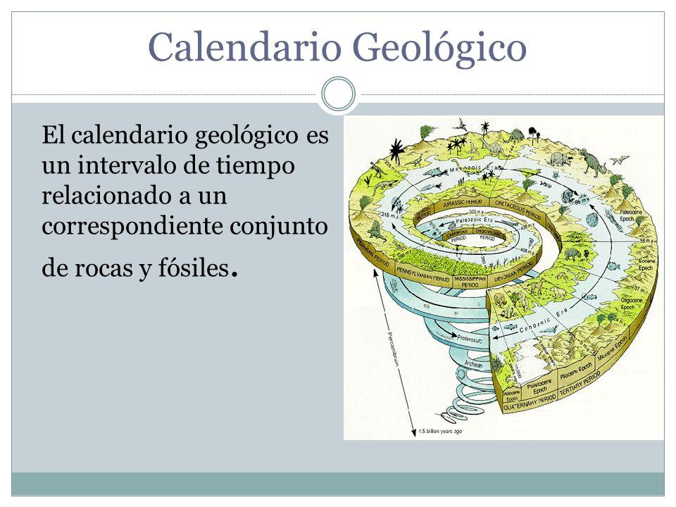 Calendario Geológico El calendario geológico es un intervalo de tiempo relacionado a un correspondiente conjunto de rocas y fósiles.