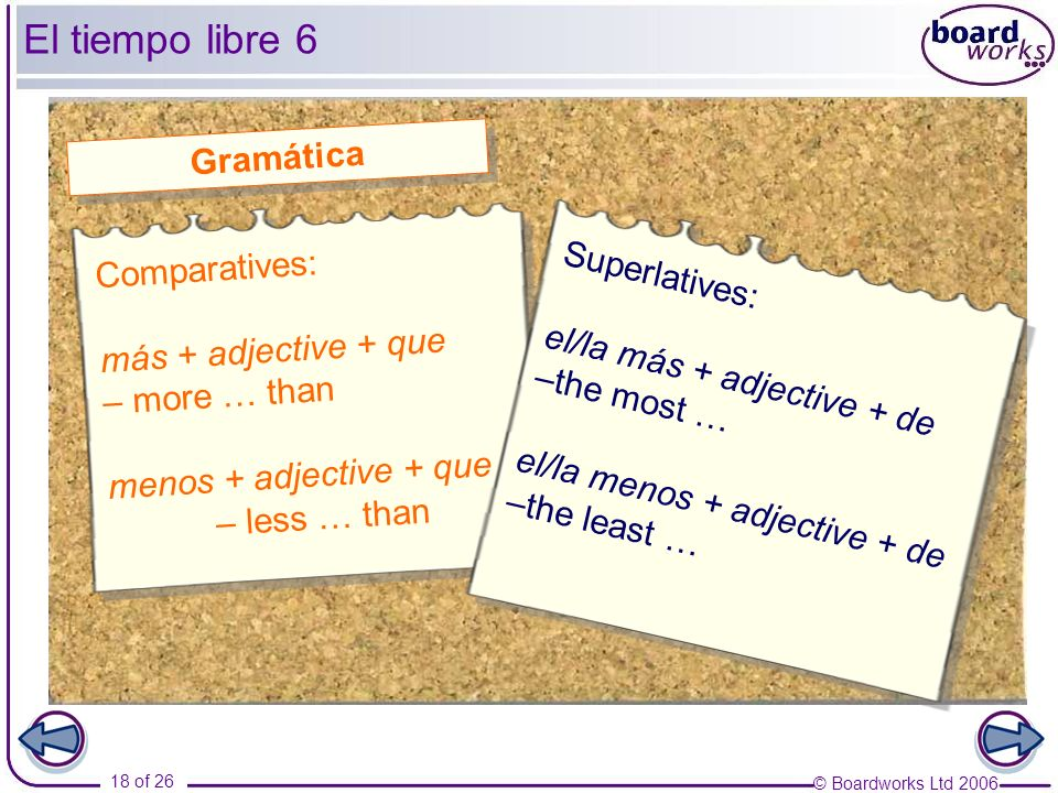 El tiempo libre 6 Gramática Comparatives: Superlatives: