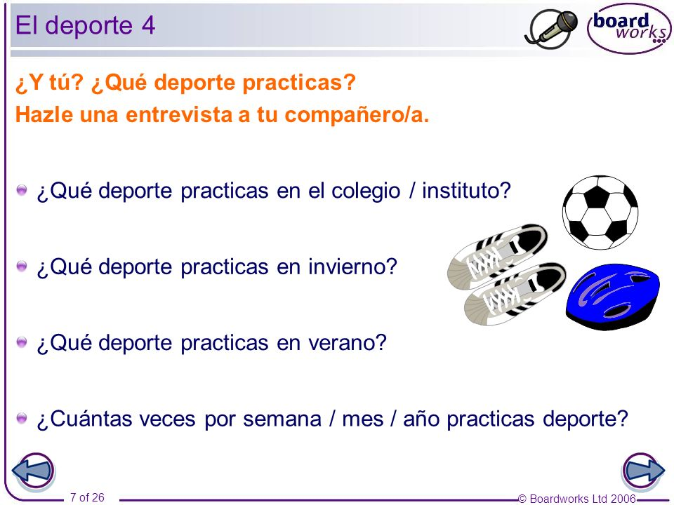 El deporte 4 ¿Y tú ¿Qué deporte practicas