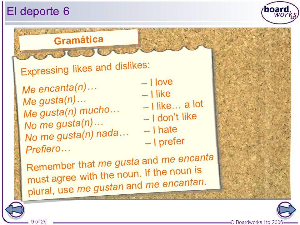 El deporte 6 Gramática Expressing likes and dislikes: