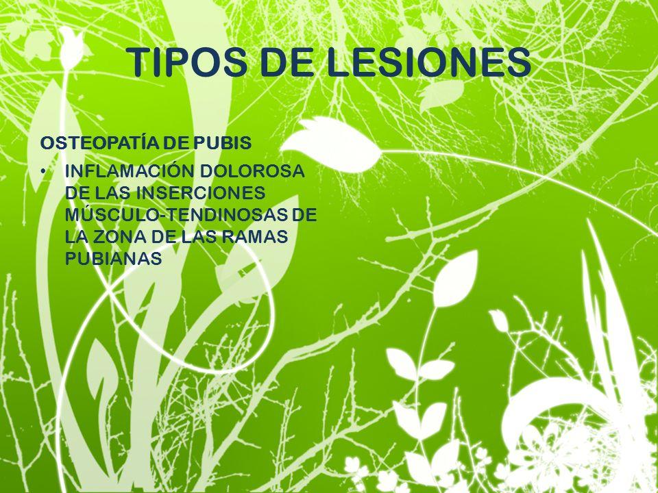 TIPOS DE LESIONES OSTEOPATÍA DE PUBIS
