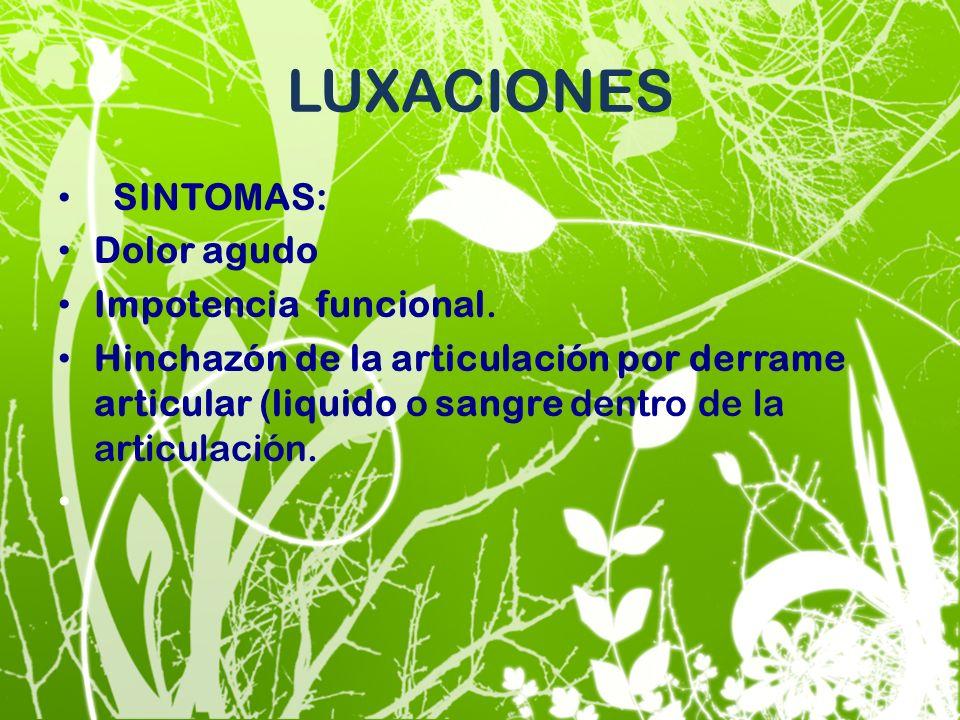 LUXACIONES SINTOMAS: Dolor agudo Impotencia funcional.