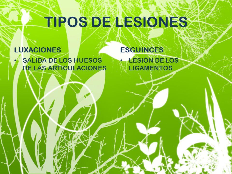 TIPOS DE LESIONES LUXACIONES ESGUINCES