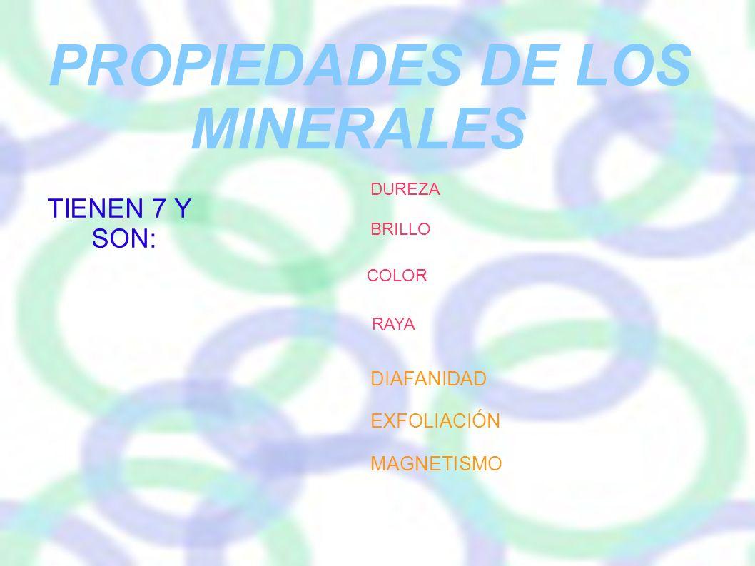 PROPIEDADES DE LOS MINERALES TIENEN 7 Y SON: DIAFANIDAD EXFOLIACIÓN