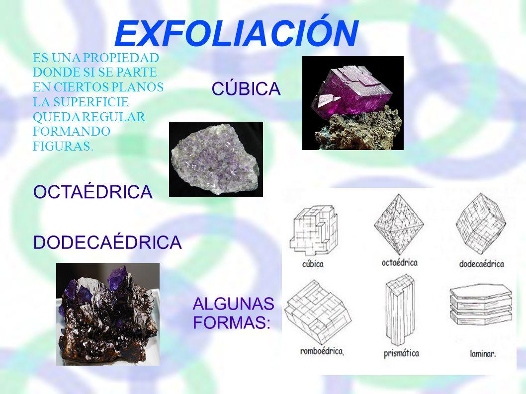 EXFOLIACIÓN CÚBICA OCTAÉDRICA DODECAÉDRICA ALGUNAS FORMAS: