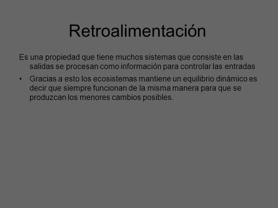 RetroalimentaciónEs una propiedad que tiene muchos sistemas que consiste en las salidas se procesan como información para controlar las entradas.