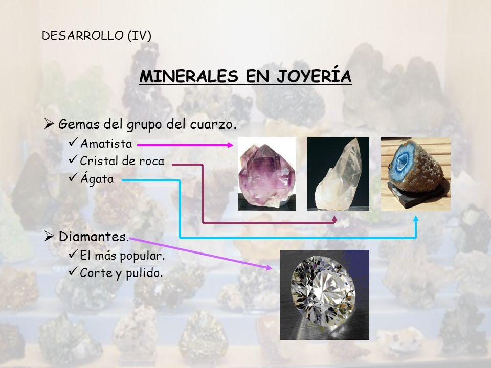 MINERALES EN JOYERÍA Gemas del grupo del cuarzo. Diamantes.