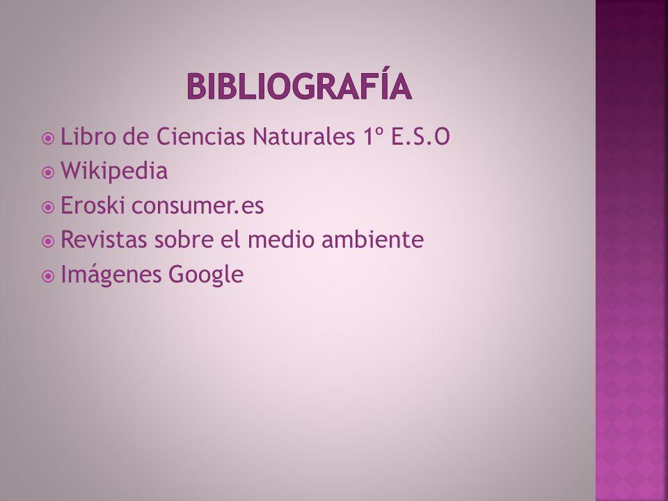 Bibliografía Libro de Ciencias Naturales 1º E.S.O Wikipedia