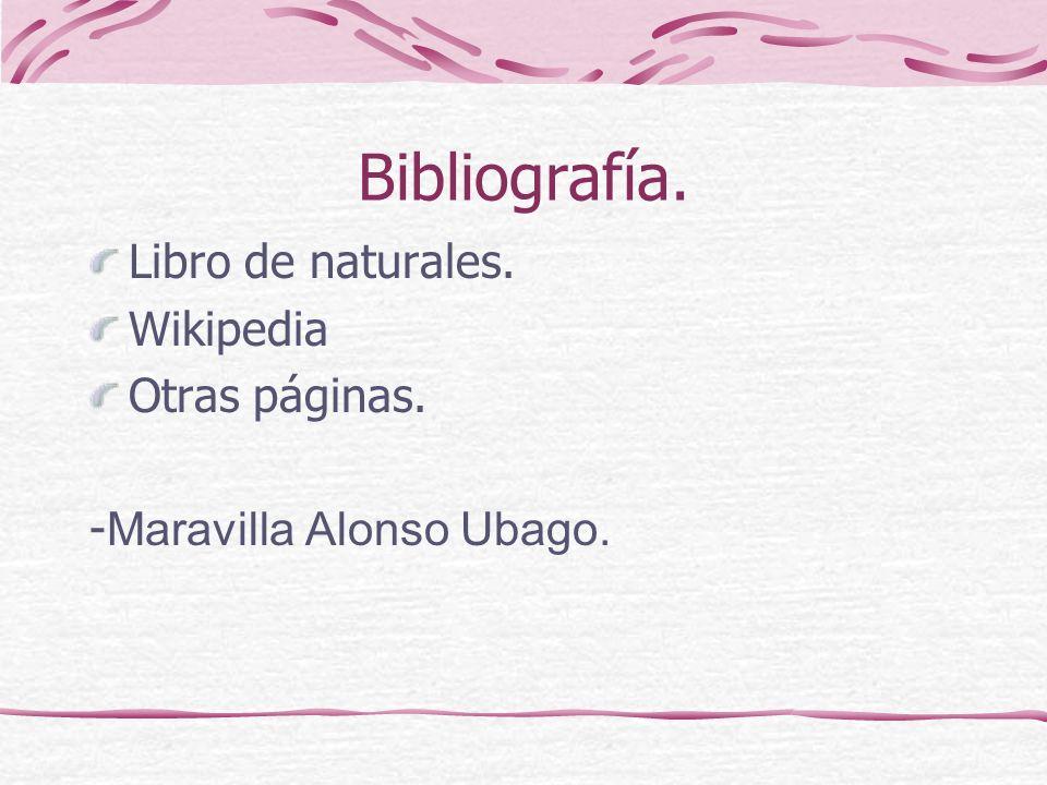 Bibliografía. Libro de naturales. Wikipedia Otras páginas.