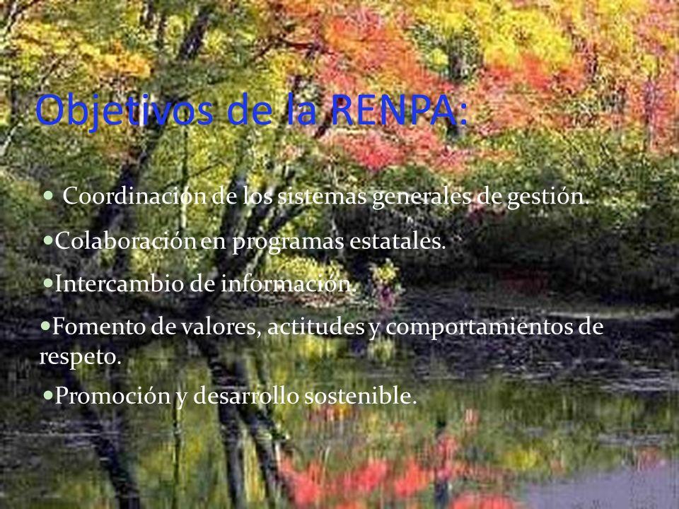 Objetivos de la RENPA: Coordinación de los sistemas generales de gestión. Colaboración en programas estatales.