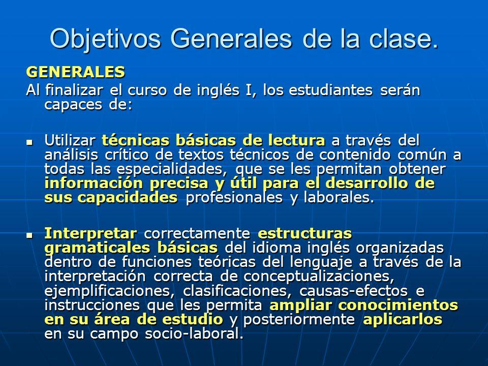 Objetivos Generales de la clase.