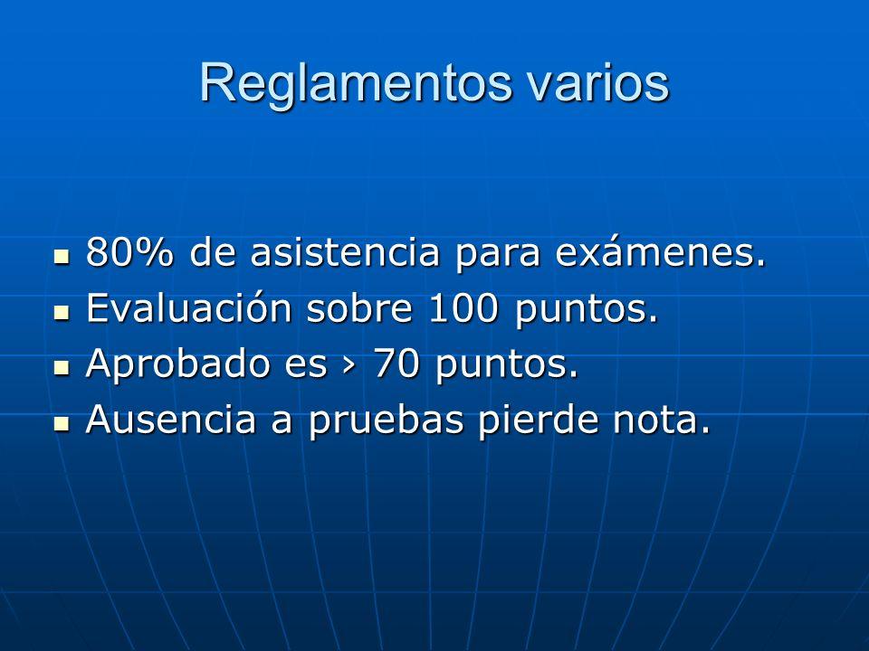 Reglamentos varios 80% de asistencia para exámenes.