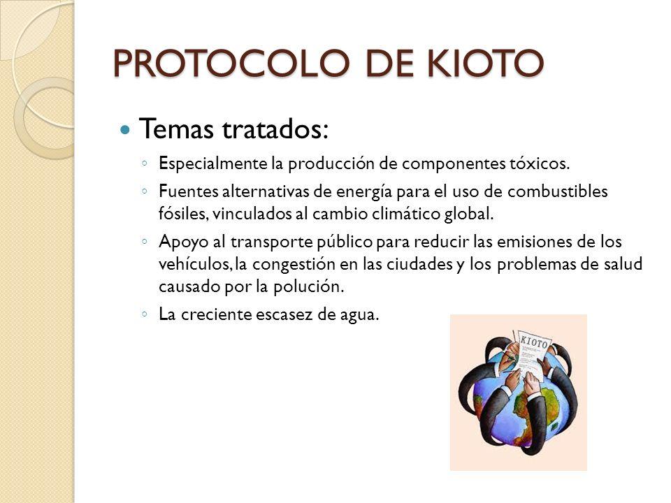 PROTOCOLO DE KIOTO Temas tratados: