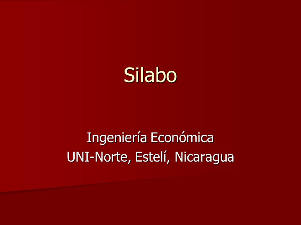 Ingeniería Económica UNI-Norte, Estelí, Nicaragua