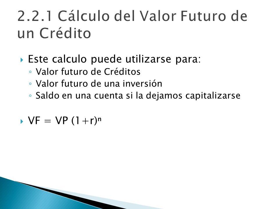 2.2.1 Cálculo del Valor Futuro de un Crédito