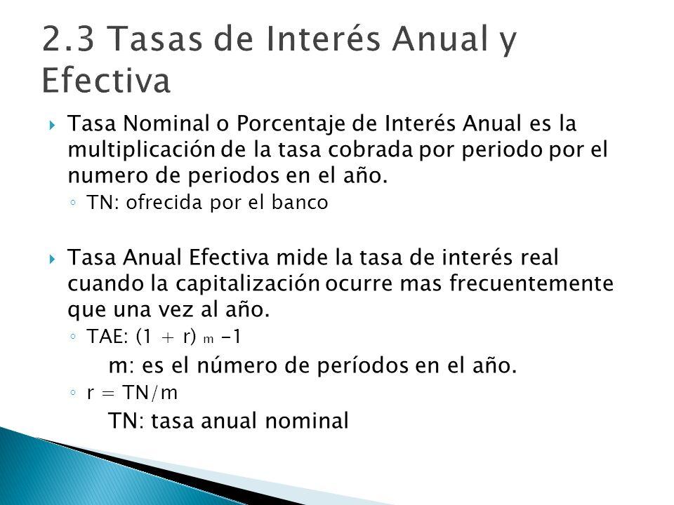 2.3 Tasas de Interés Anual y Efectiva