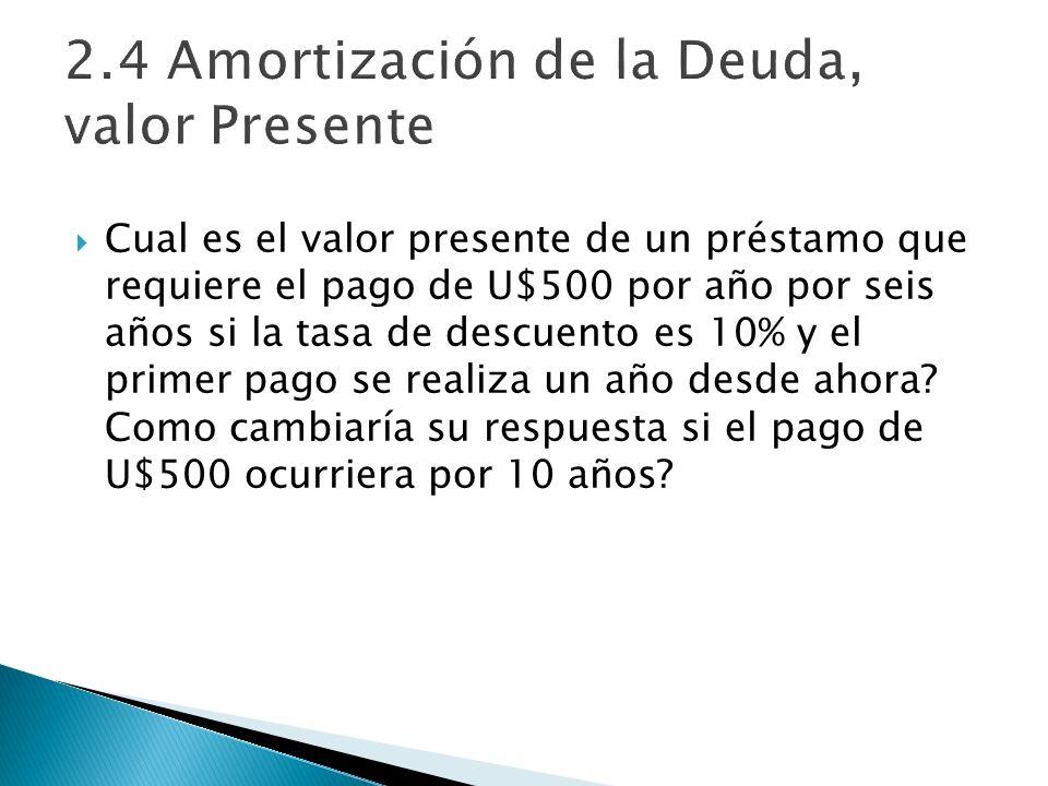 2.4 Amortización de la Deuda, valor Presente