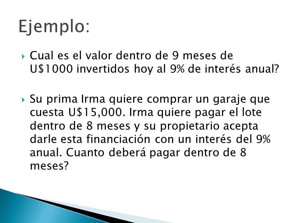 Ejemplo: Cual es el valor dentro de 9 meses de U$1000 invertidos hoy al 9% de interés anual