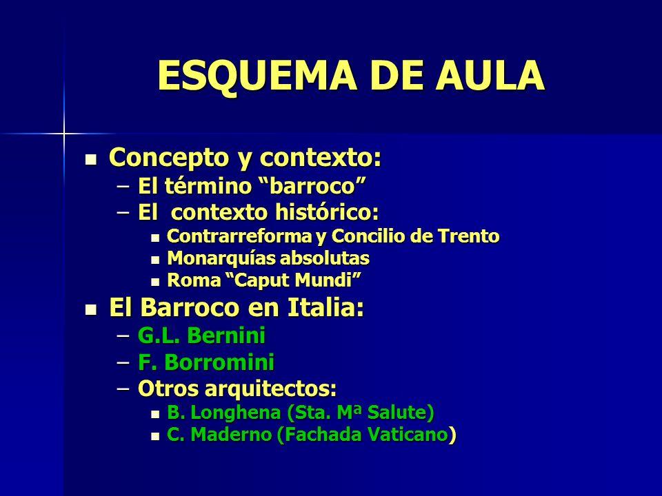 ESQUEMA DE AULA Concepto y contexto: El Barroco en Italia: