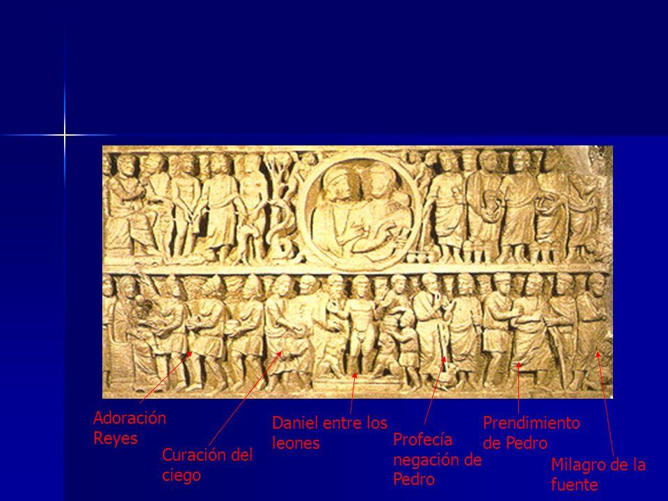 Adoración Reyes Daniel entre los leones. Prendimiento de Pedro. Profecía negación de Pedro. Curación del ciego.