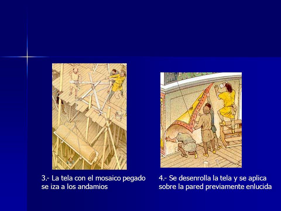 3.- La tela con el mosaico pegado se iza a los andamios