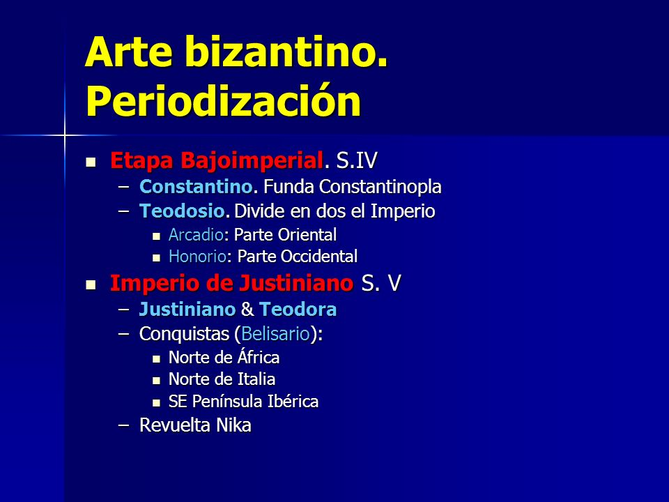 Arte bizantino. Periodización