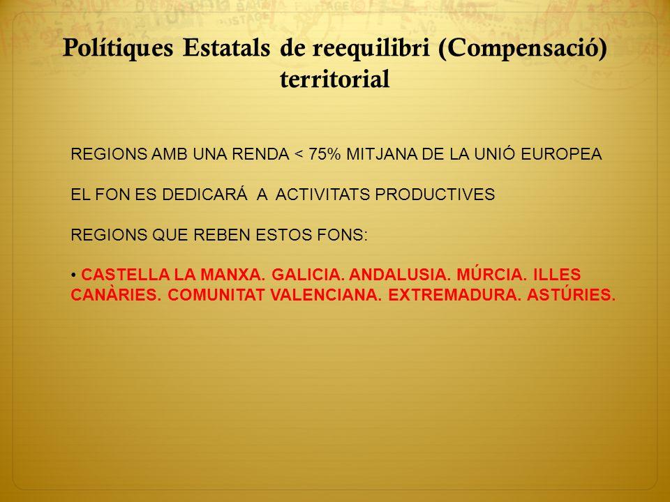 Polítiques Estatals de reequilibri (Compensació) territorial