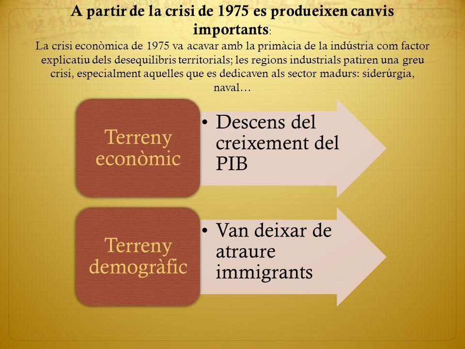 A partir de la crisi de 1975 es produeixen canvis importants: La crisi econòmica de 1975 va acavar amb la primàcia de la indústria com factor explicatiu dels desequilibris territorials; les regions industrials patiren una greu crisi, especialment aquelles que es dedicaven als sector madurs: siderúrgia, naval…