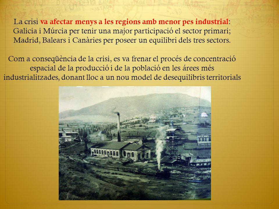La crisi va afectar menys a les regions amb menor pes industrial: Galicia i Múrcia per tenir una major participació el sector primari; Madrid, Balears i Canàries per poseer un equilibri dels tres sectors.