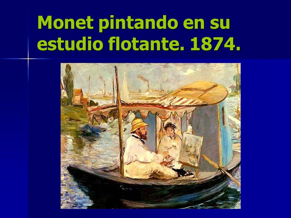 Monet pintando en su estudio flotante. 1874.