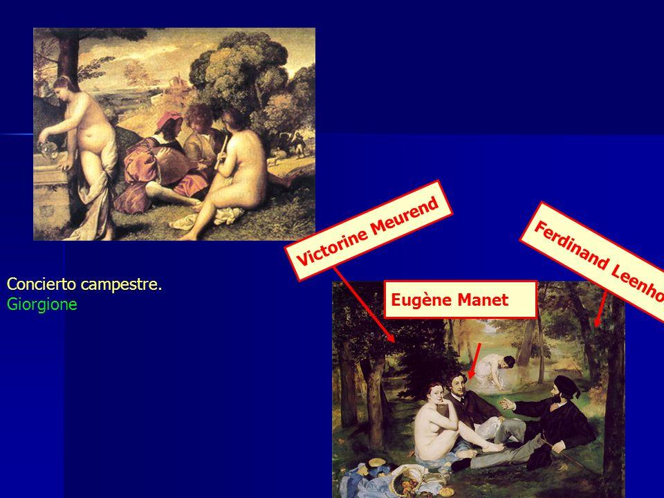 Victorine Meurend Ferdinand Leenhoff Concierto campestre. Giorgione Eugène Manet