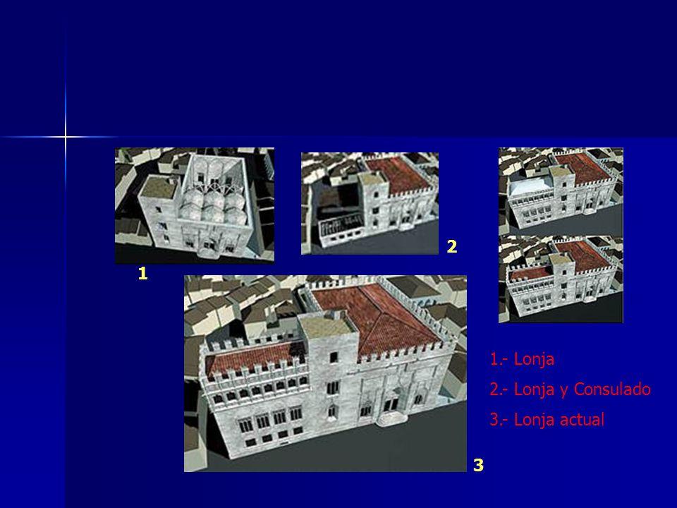 2 1 1.- Lonja 2.- Lonja y Consulado 3.- Lonja actual 3