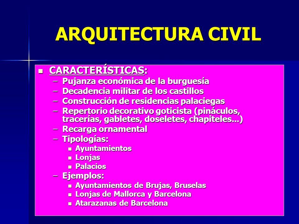 ARQUITECTURA CIVIL CARACTERÍSTICAS: Pujanza económica de la burguesía