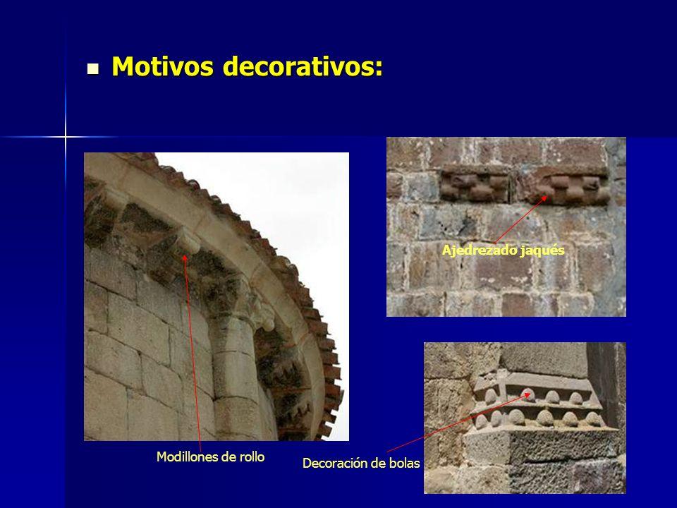 Motivos decorativos: Ajedrezado jaqués Modillones de rollo