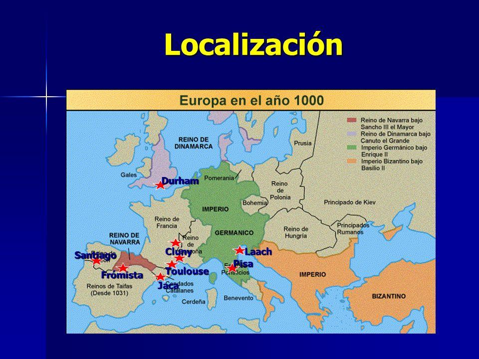 Localización Durham Cluny Laach Santiago Pisa Toulouse Frómista Jaca