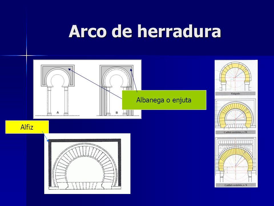 Arco de herradura Albanega o enjuta Alfiz
