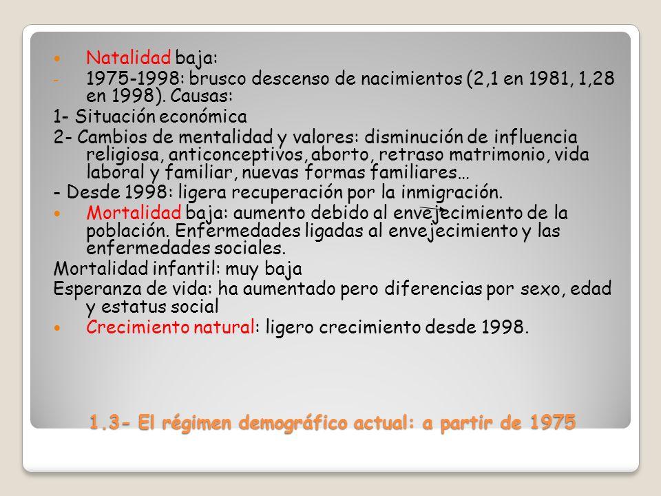 1.3- El régimen demográfico actual: a partir de 1975