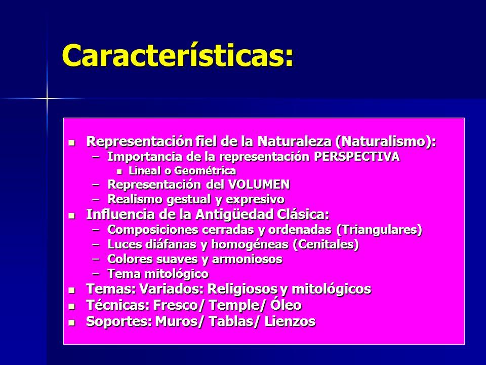 Características: Representación fiel de la Naturaleza (Naturalismo):