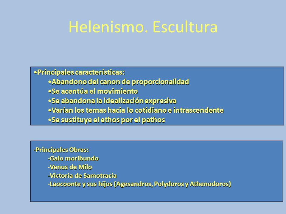 Helenismo. Escultura Principales características: