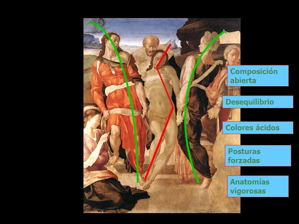 Composición abierta Desequilibrio Colores ácidos Posturas forzadas Anatomías vigorosas