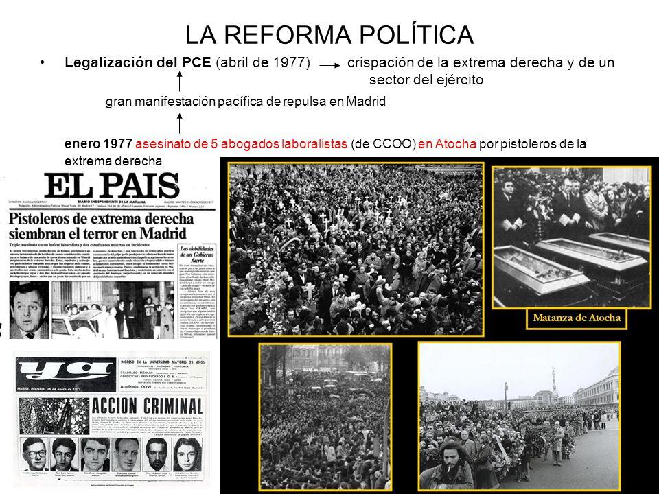 LA REFORMA POLÍTICALegalización del PCE (abril de 1977) crispación de la extrema derecha y de un sector del ejército.