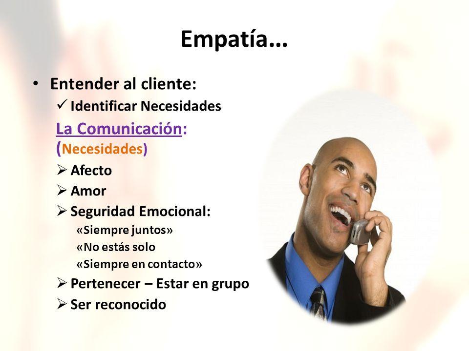 Empatía… Entender al cliente: La Comunicación: (Necesidades)