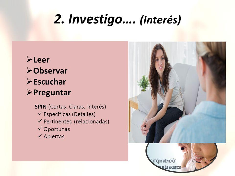 2. Investigo…. (Interés) Leer Observar Escuchar Preguntar