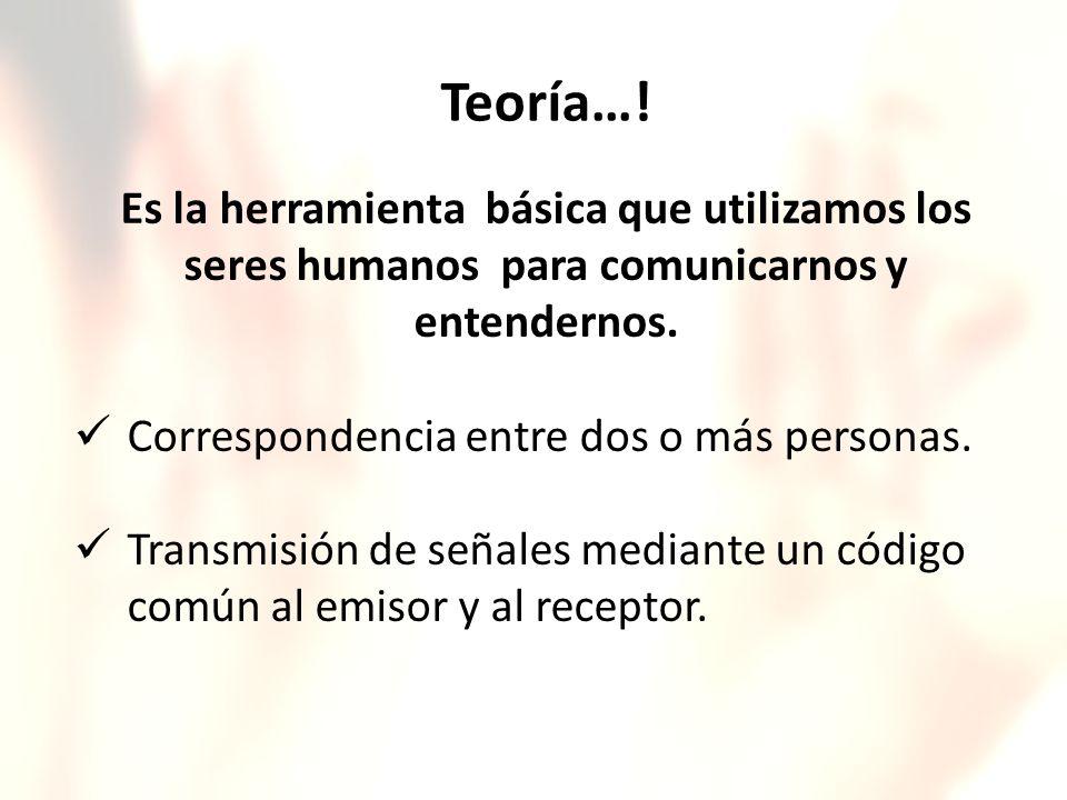 Teoría…! Es la herramienta básica que utilizamos los seres humanos para comunicarnos y entendernos.