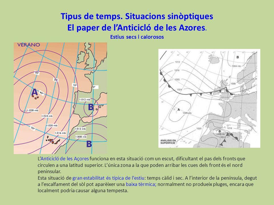 Tipus de temps. Situacions sinòptiques El paper de l'Anticicló de les Azores. Estius secs i calorosos