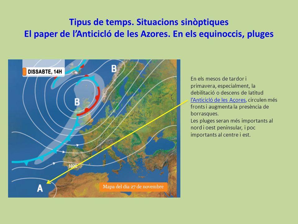 Tipus de temps. Situacions sinòptiques El paper de l'Anticicló de les Azores. En els equinoccis, pluges