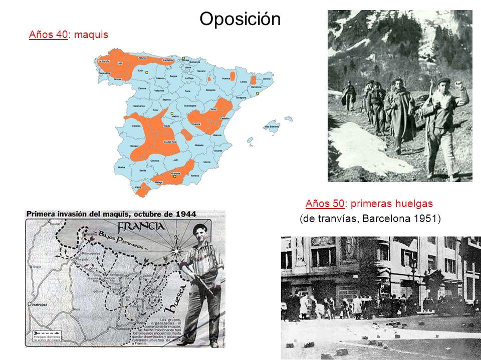 Oposición Años 40: maquis Años 50: primeras huelgas